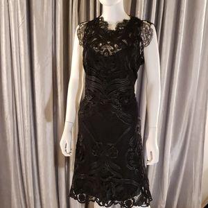 JOELLE Black Lace Midi Dress